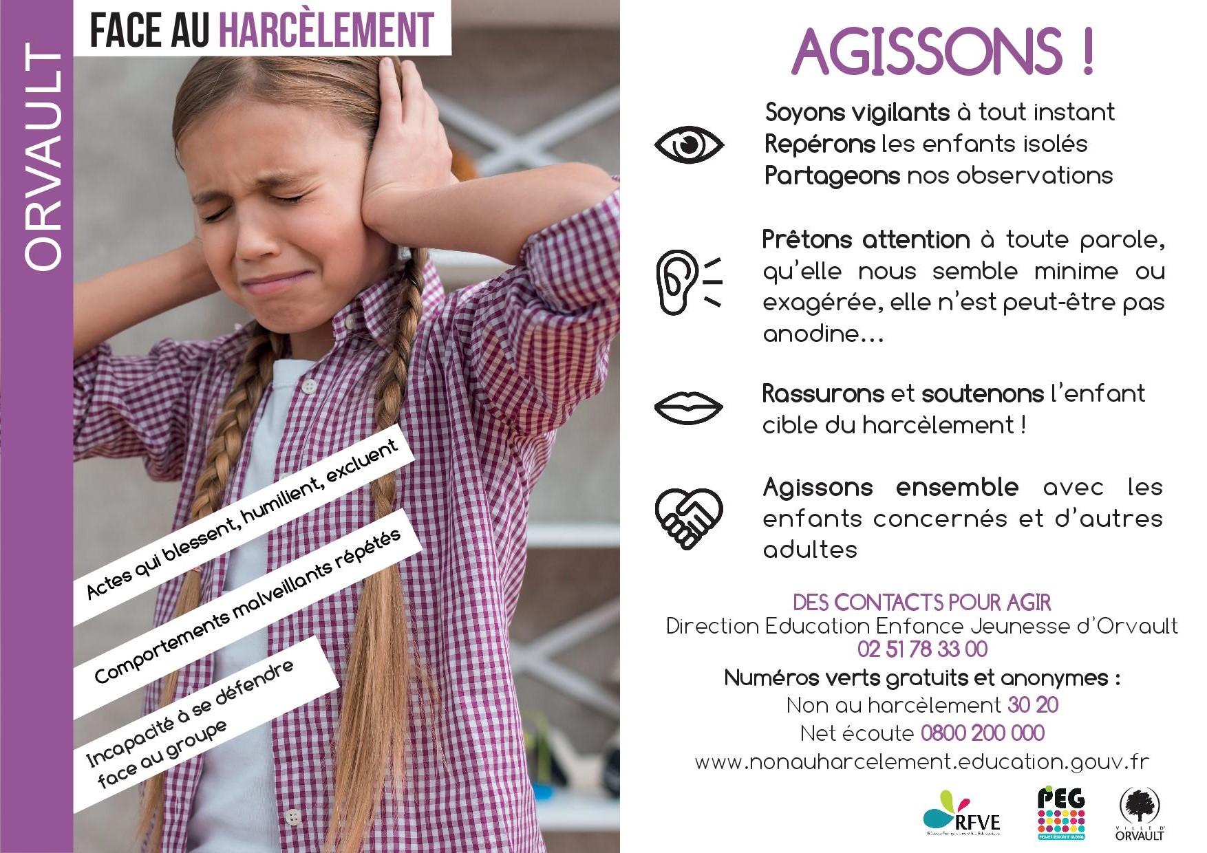 Affiche harcèlement agissons Orvault
